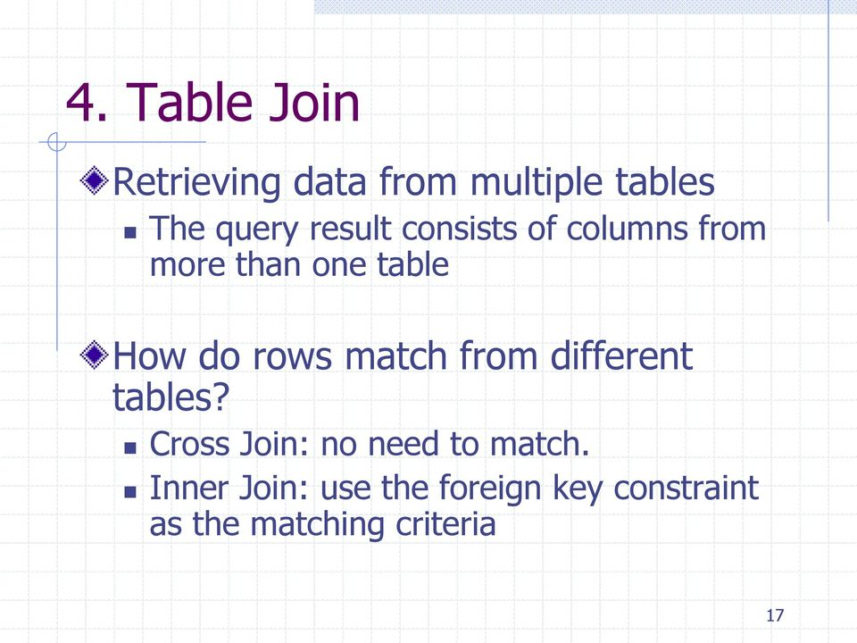 match from different tables? Cross Join: no need to match.