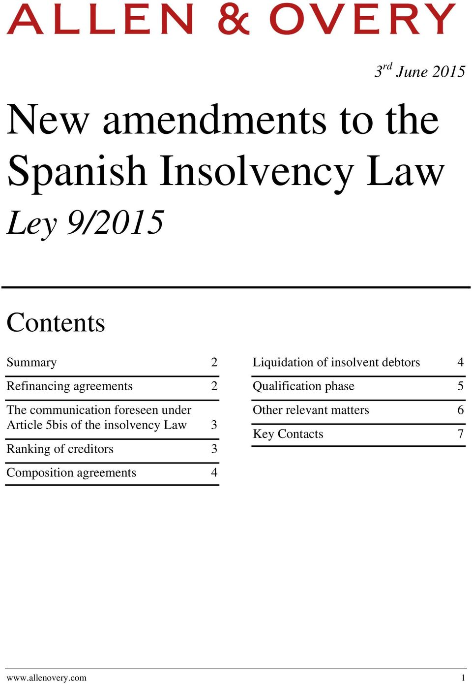 insolvency Law 3 Ranking of creditors 3 Liquidation of insolvent debtors 4
