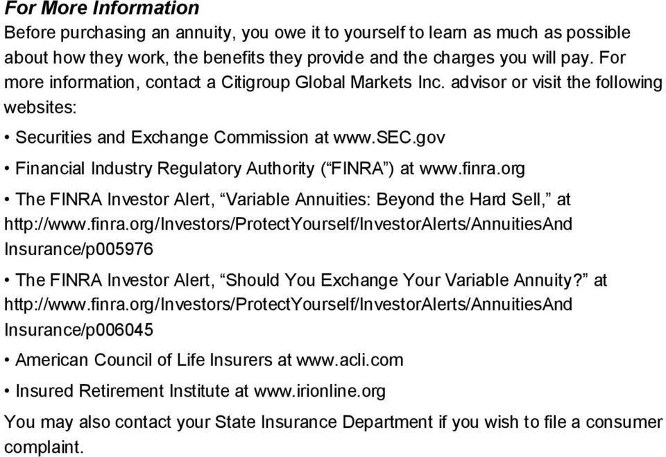 gov Financial Industry Regulatory Authority ( FINRA ) at www.finra.