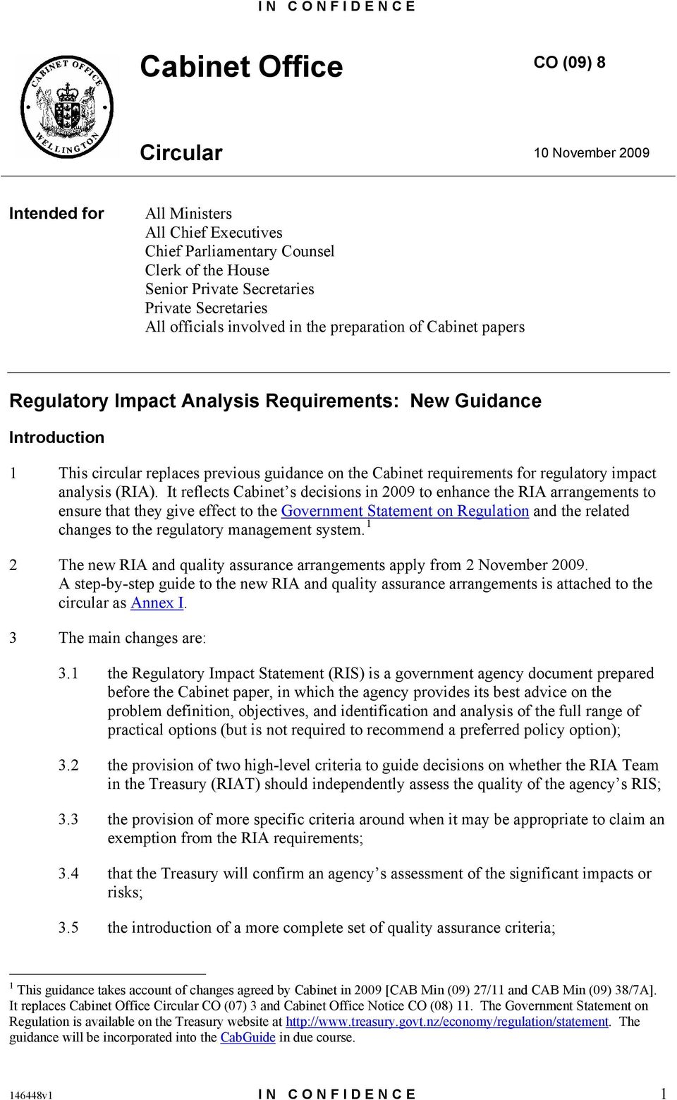 requirements for regulatory impact analysis (RIA).