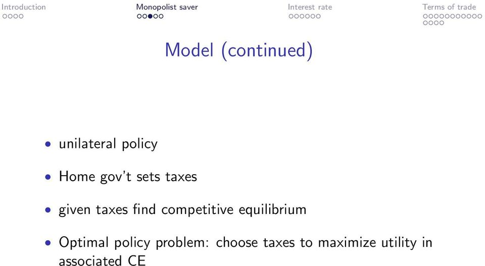 competitive equilibrium Optimal policy