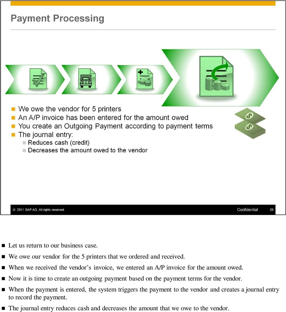Now it is time to create an outgoing payment based on the payment terms for the vendor.