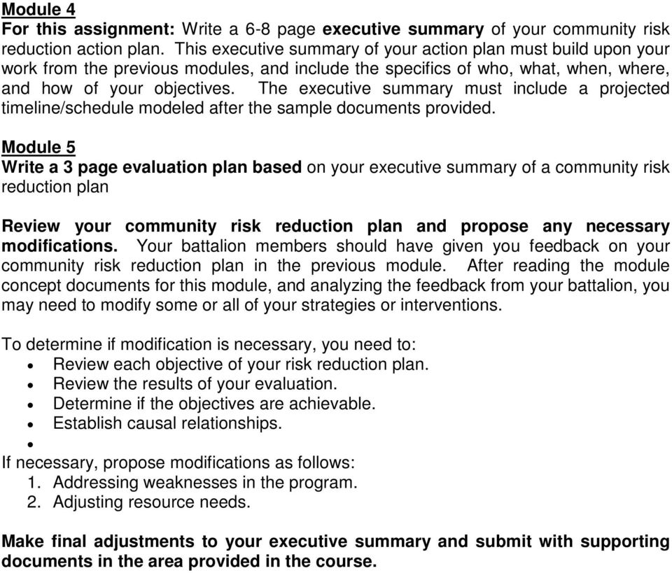 The executive summary must include a projected timeline/schedule modeled after the sample documents provided.