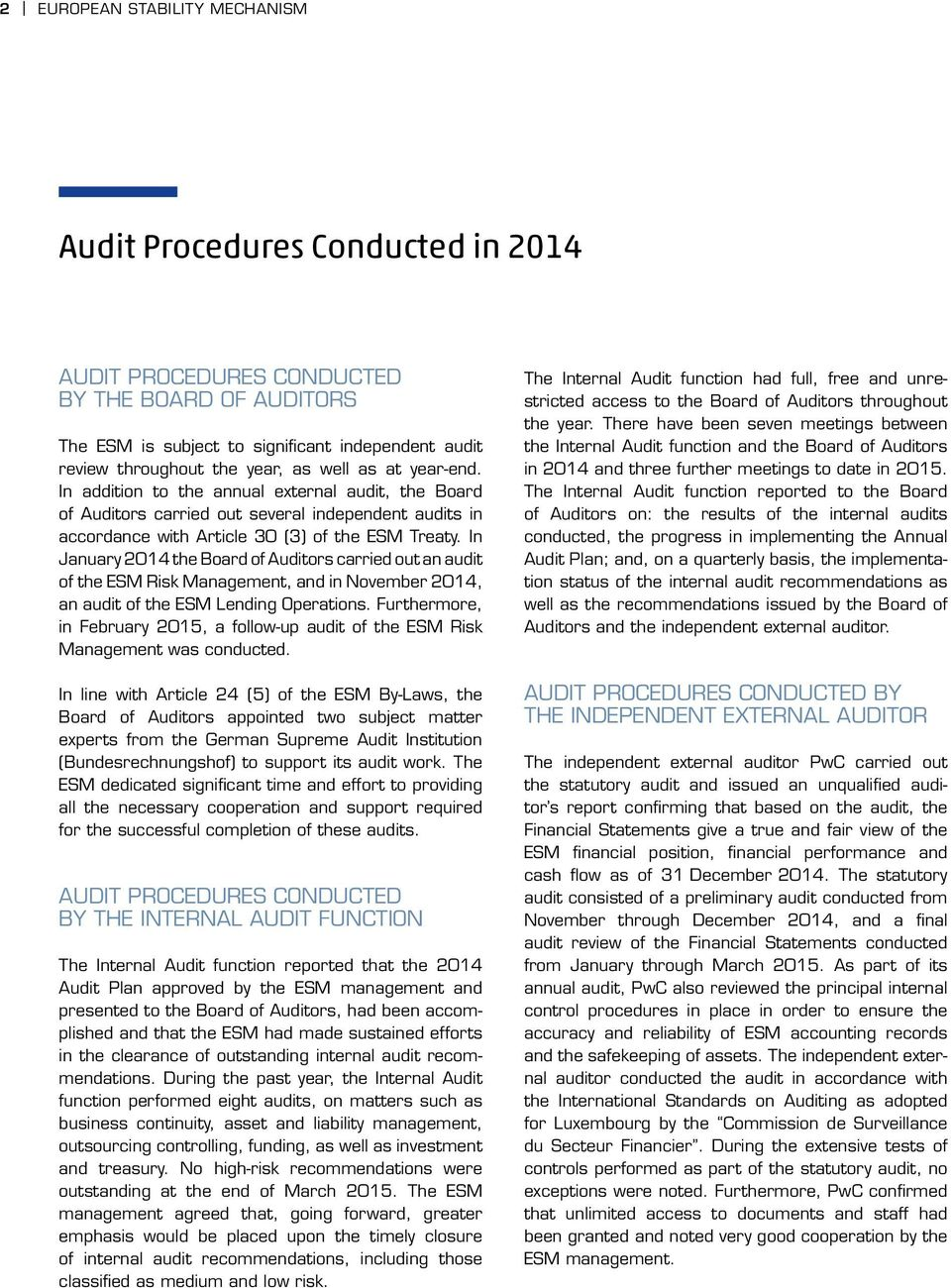 In January 2014 the Board of Auditors carried out an audit of the ESM Risk Management, and in November 2014, an audit of the ESM Lending Operations.