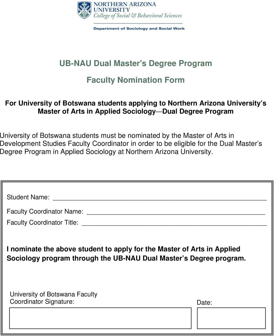 for the Dual Master s Degree Program in Applied Sociology at Northern Arizona University.