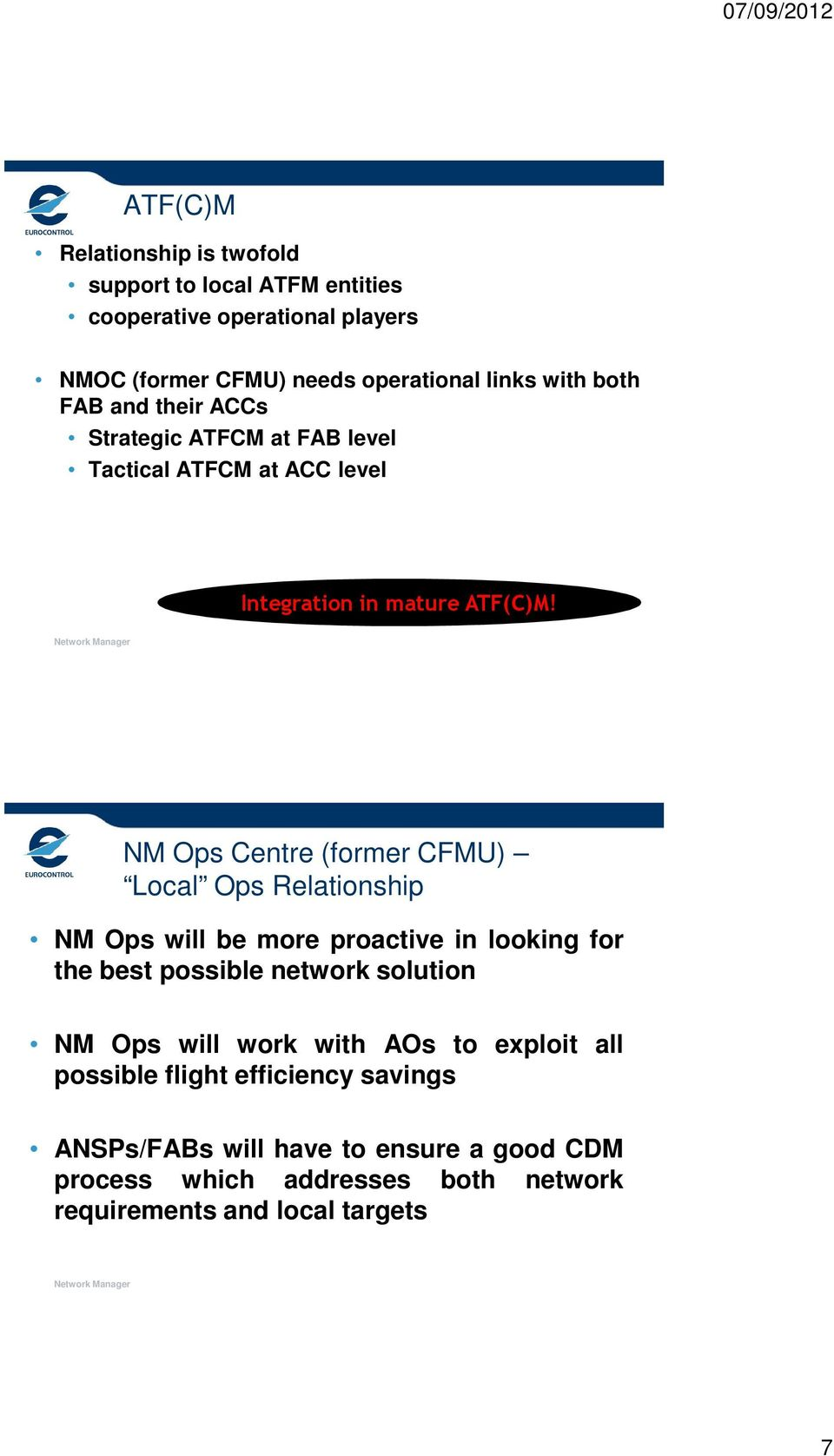 NM Ops Centre (former CFMU) Local Ops Relationship NM Ops will be more proactive in looking for the best possible network solution NM Ops will