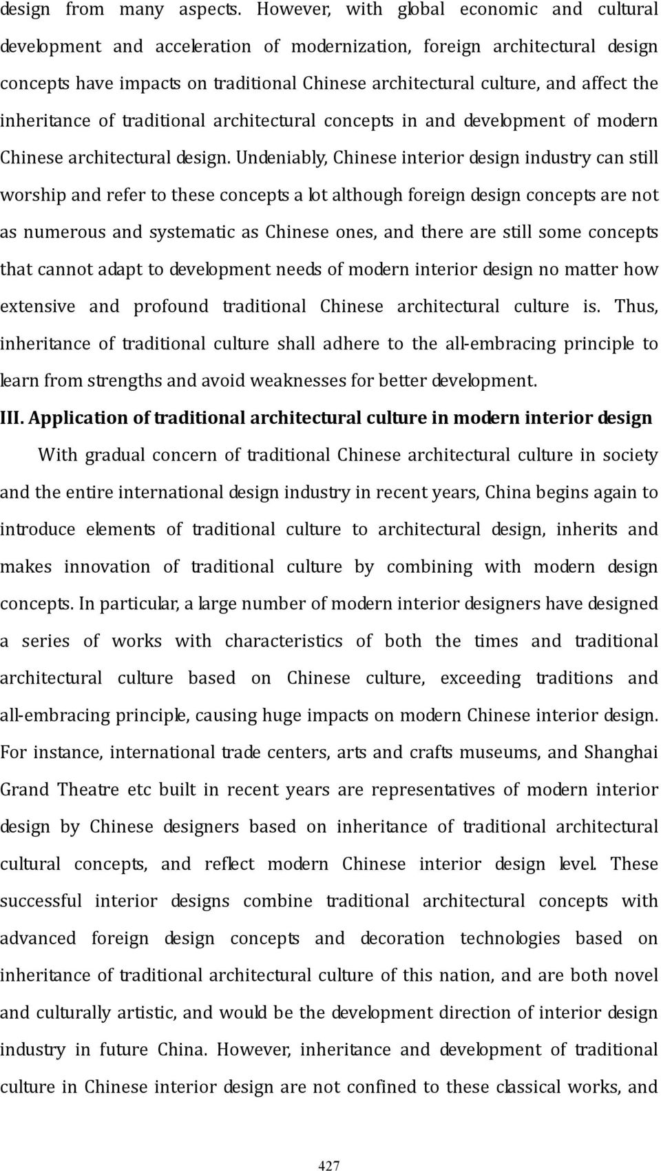 the inheritance of traditional architectural concepts in and development of modern Chinese architectural design.