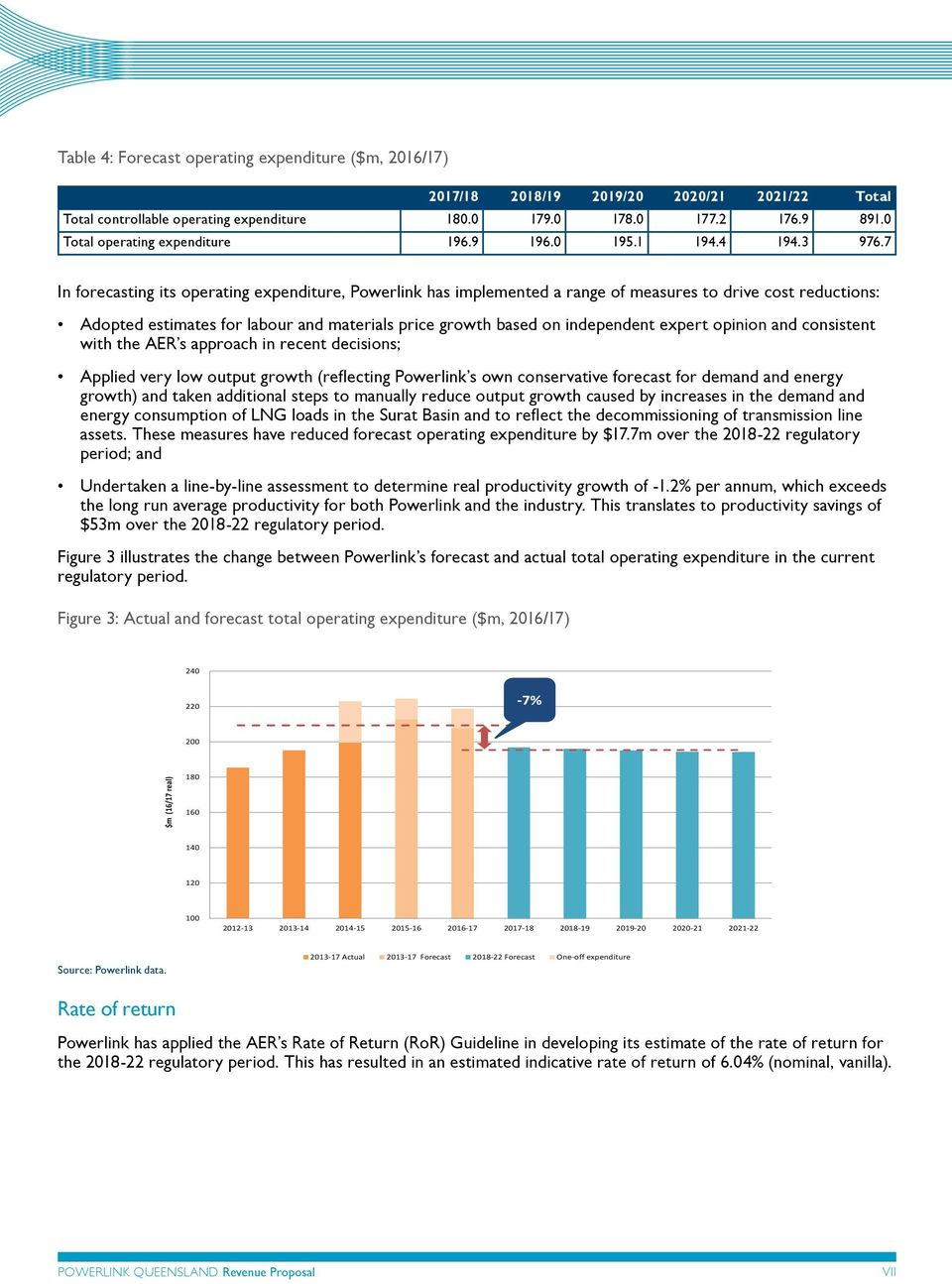 7 In forecasting its operating expenditure, Powerlink has implemented a range of measures to drive cost reductions: Adopted estimates for labour and materials price growth based on independent expert