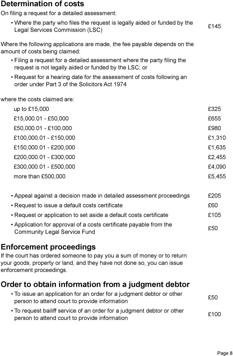 the LSC; or Request for a hearing date for the assessment of costs following an order under Part 3 of the Solicitors Act 1974 where the costs claimed are: up to 15,000 325 15,000.01-50,000 655 50,000.