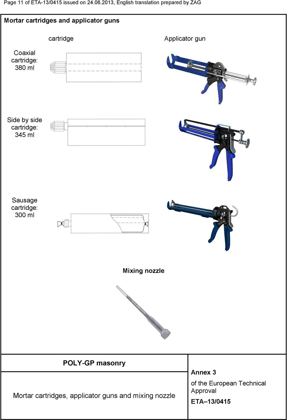 guns cartridge Applicator gun Coaxial cartridge: 380 ml Side by side