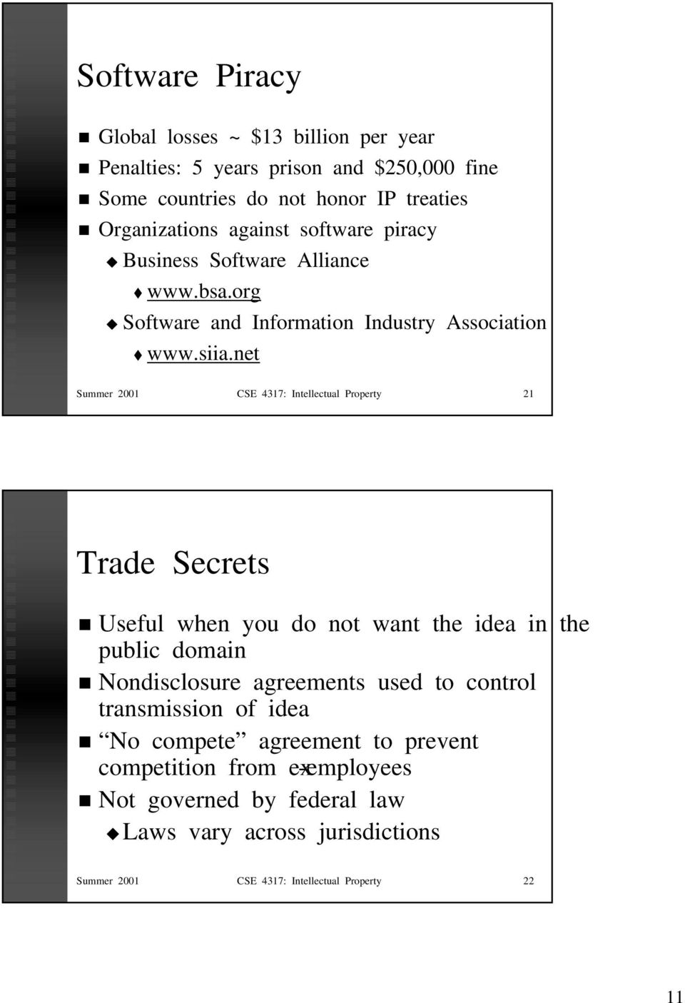 net Summer 2001 CSE 4317: Intellectual Property 21 Trade Secrets Useful when you do not want the idea in the public domain Nondisclosure agreements used to