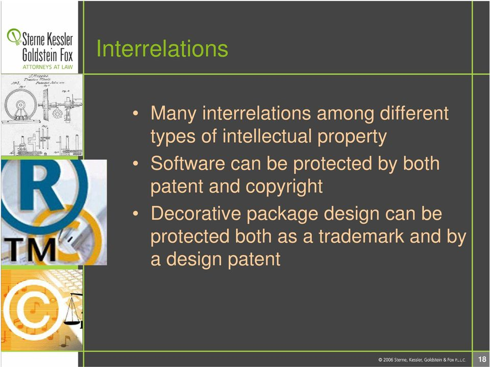 both patent and copyright Decorative package design can