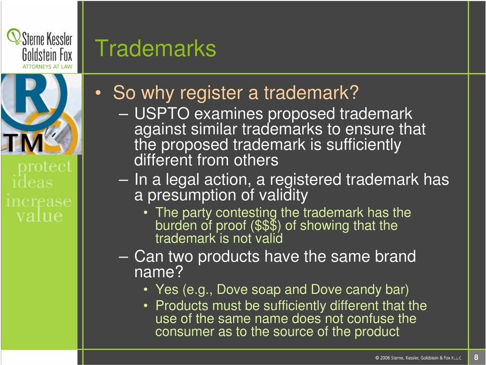 legal action, a registered trademark has a presumption of validity The party contesting the trademark has the burden of proof ($$$) of showing