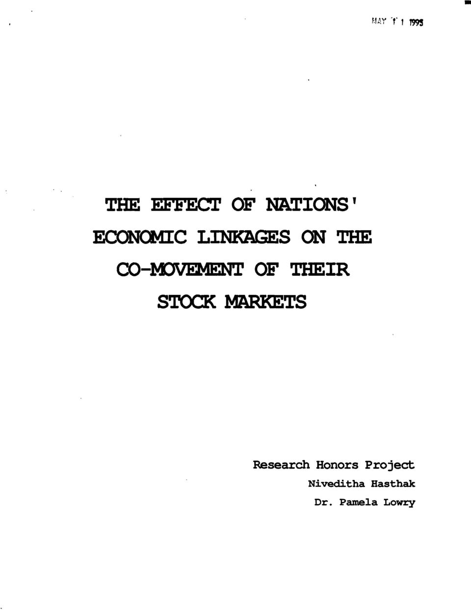 THEIR STOCK MARKETS Research Honors