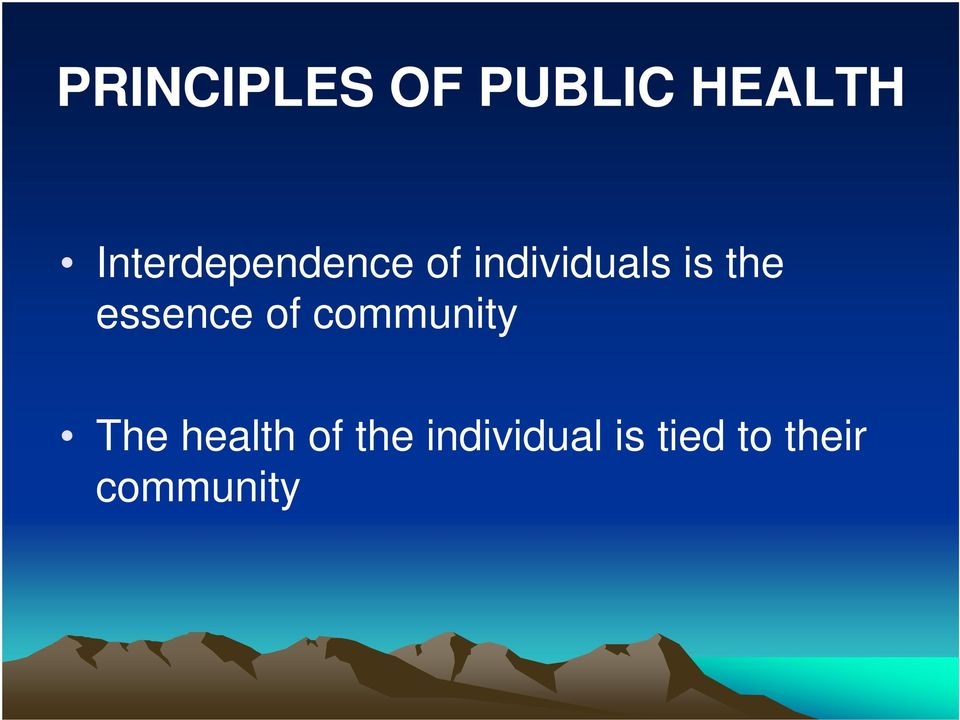the essence of community The health