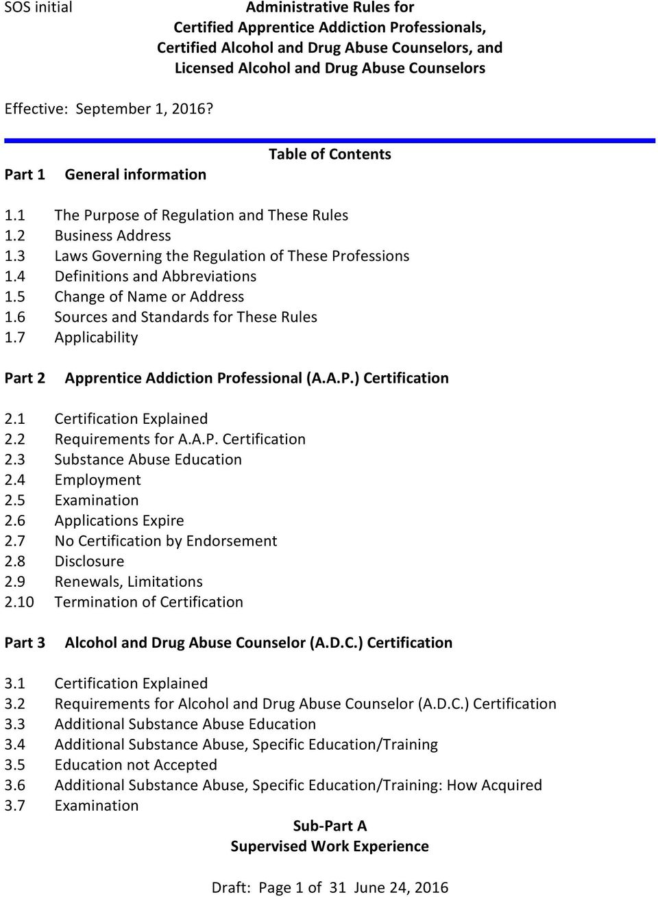 4 Definitions and Abbreviations 1.5 Change of Name or Address 1.6 Sources and Standards for These Rules 1.7 Applicability Part 2 Apprentice Addiction Professional (A.A.P.) Certification 2.