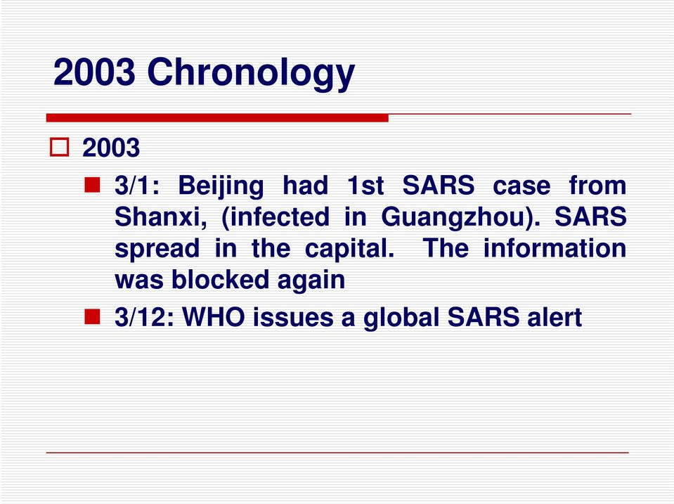 SARS spread in the capital.