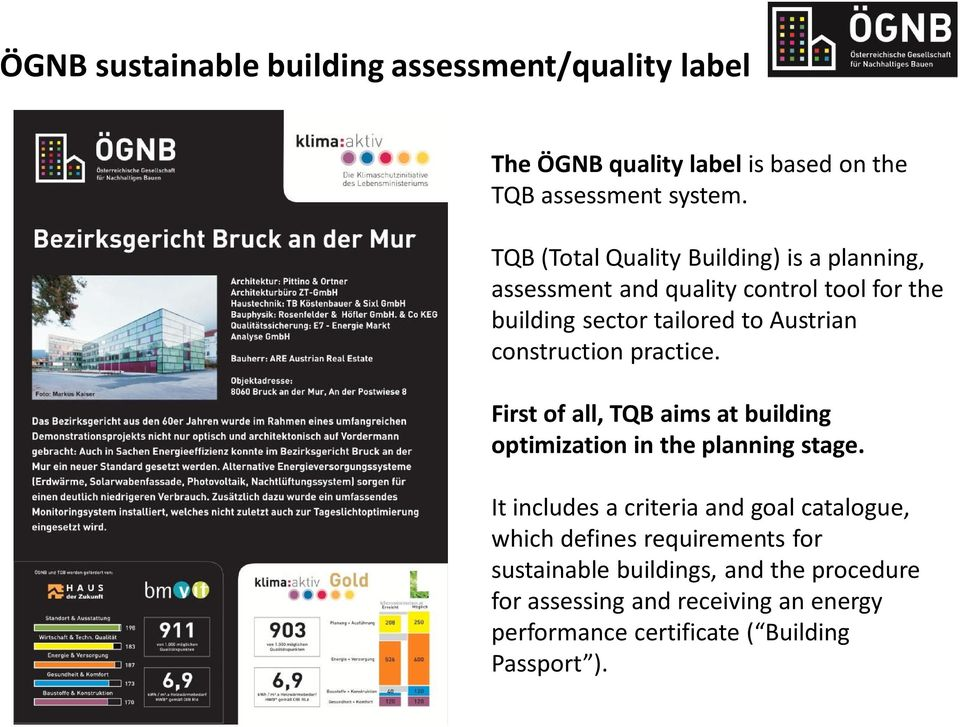 construction practice. First of all, TQB aims at building optimization in the planning stage.