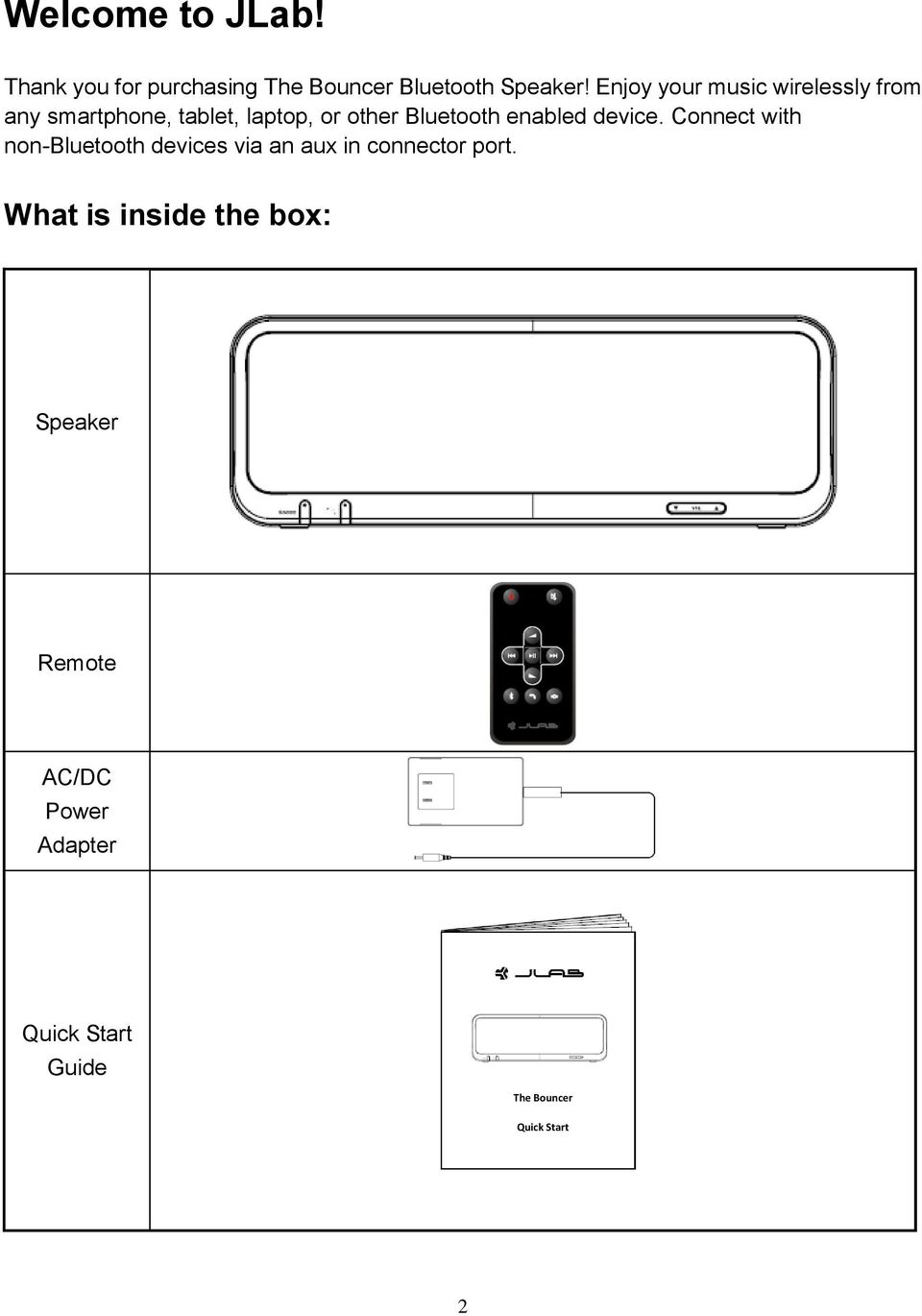 enabled device. Connect with non-bluetooth devices via an aux in connector port.