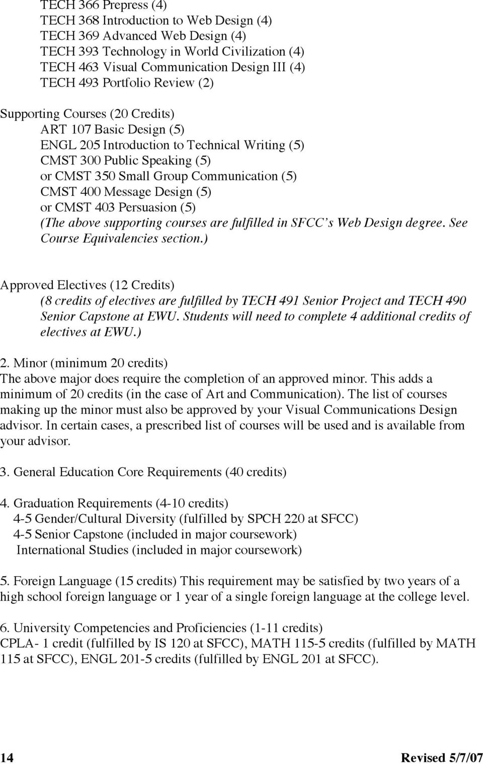 CMST 400 Message Design (5) or CMST 403 Persuasion (5) (The above supporting courses are fulfilled in SFCC s Web Design degree. See Course Equivalencies section.