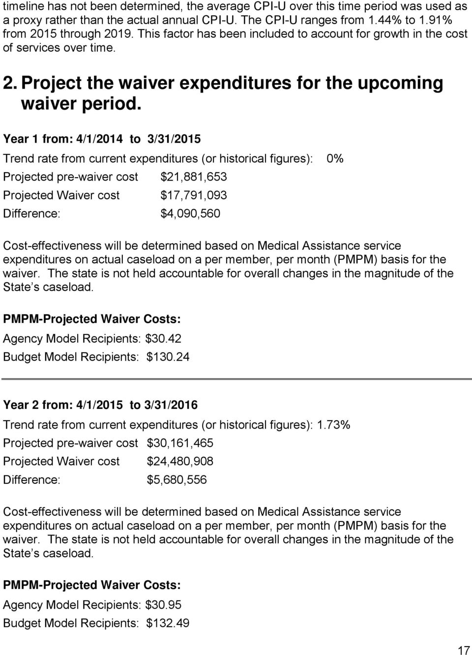 Year 1 from: 4/1/2014 to 3/31/2015 Trend rate from current expenditures (or historical figures): 0% Projected pre-waiver cost $21,881,653 Projected Waiver cost $17,791,093 Difference: $4,090,560