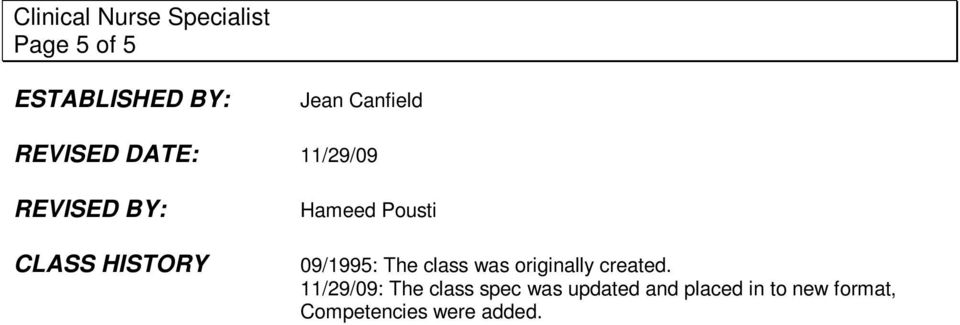 The class was originally created.