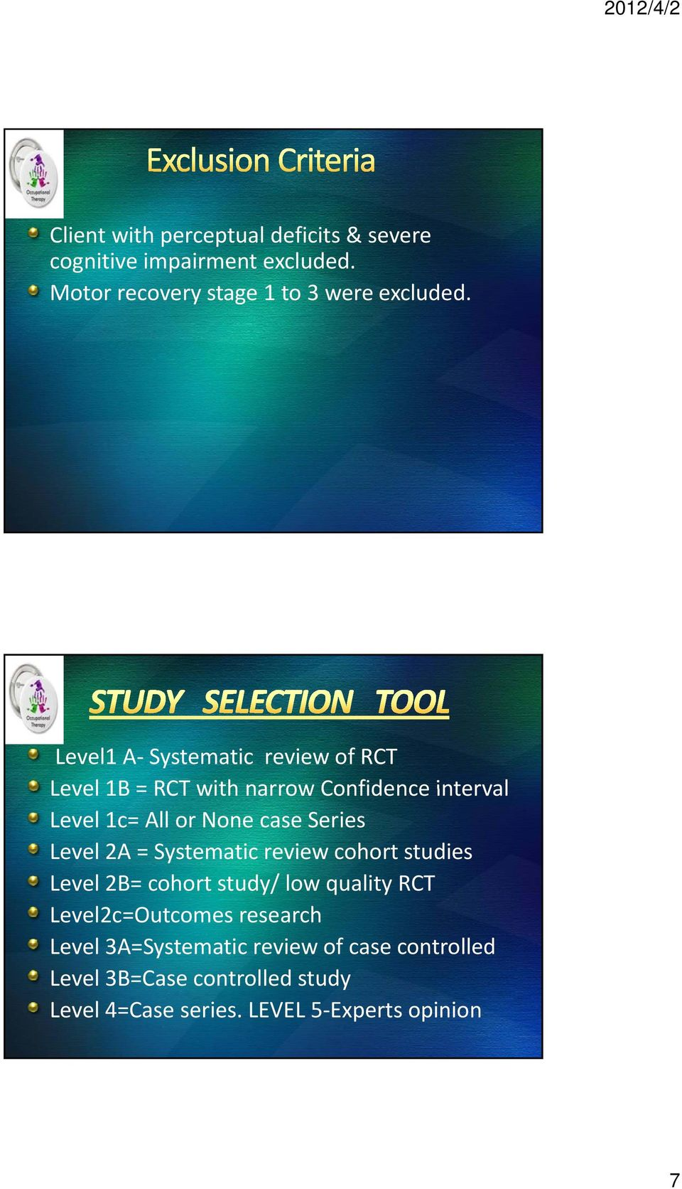 Level 2A = Systematic review cohort studies Level 2B= cohort study/ low quality RCT Level2c=Outcomes research Level