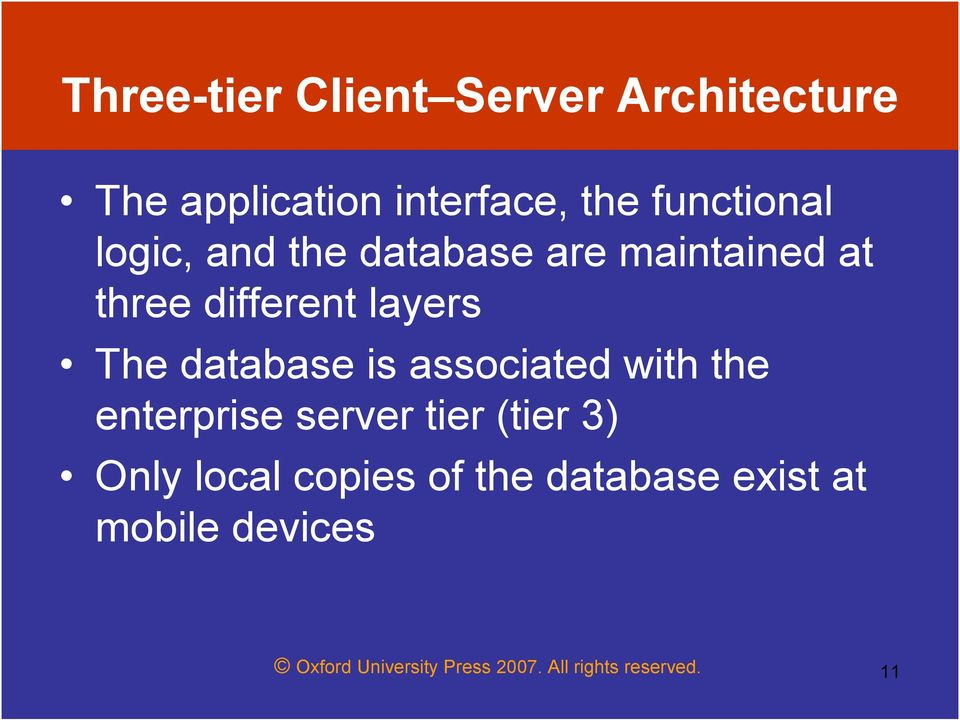 associated with the enterprise server tier (tier 3) Only local copies of the