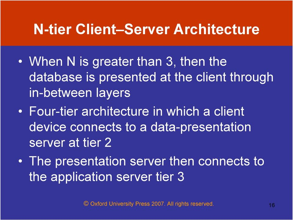 client device connects to a data-presentation server at tier 2 The presentation server