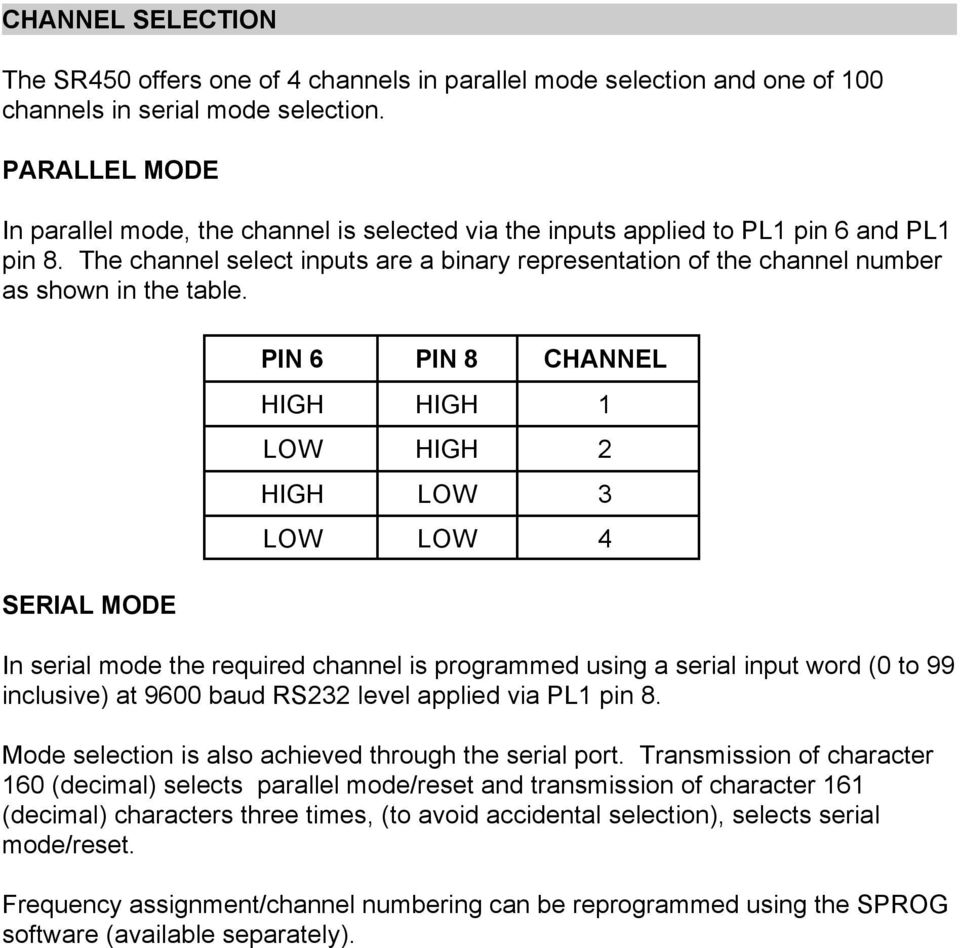 The channel select inputs are a binary representation of the channel number as shown in the table.