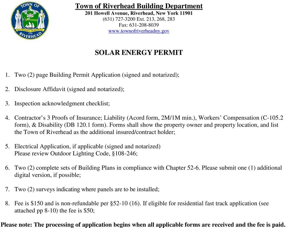SOLAR ENERGY PERMIT 1 Two 2 Page Building Permit