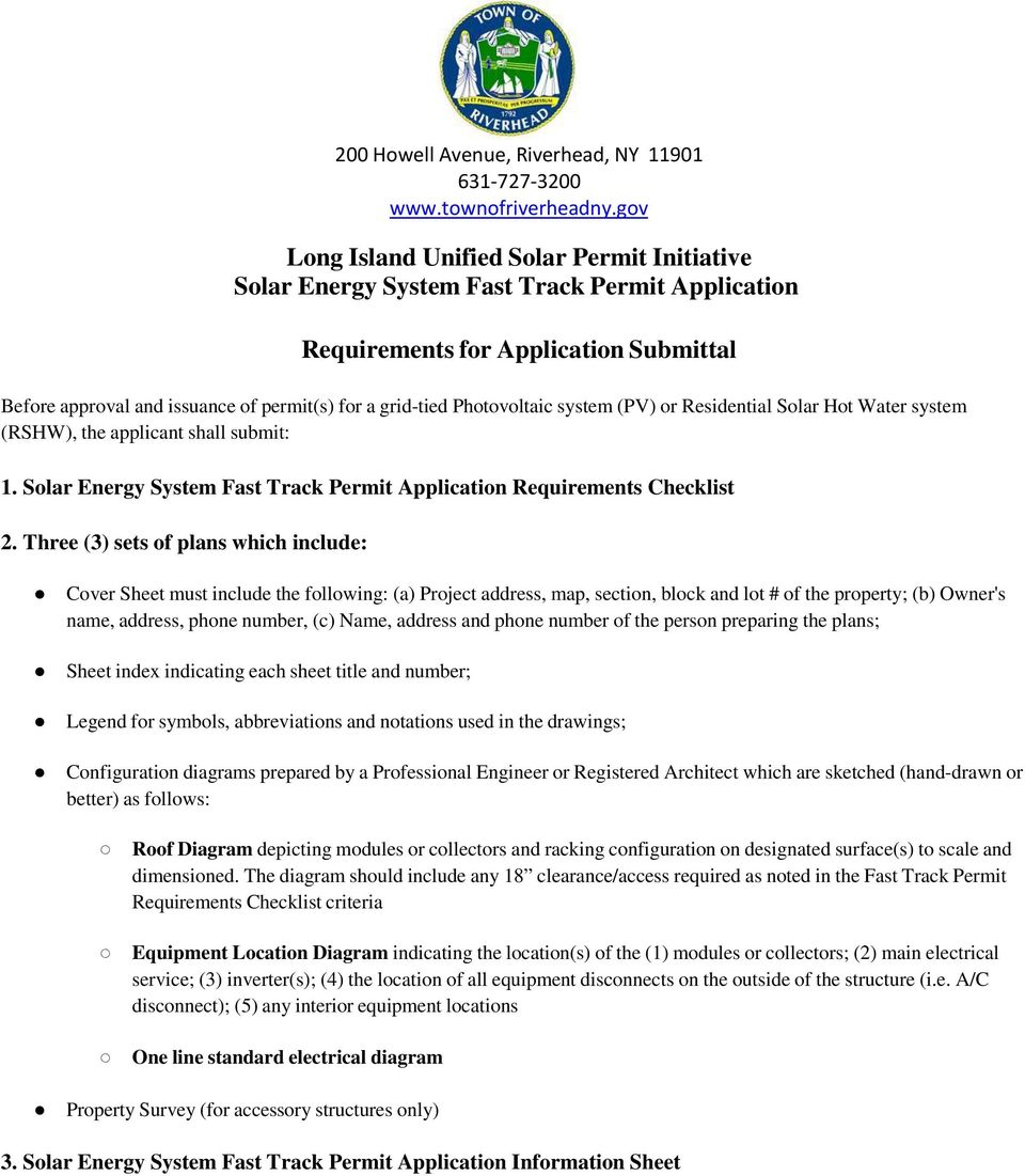 SOLAR ENERGY PERMIT. 1. Two (2) page Building Permit Application ...