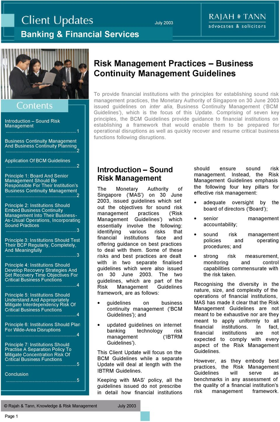 guidelines on inter alia, Management ( BCM Guidelines ), which is the focus of this Update.