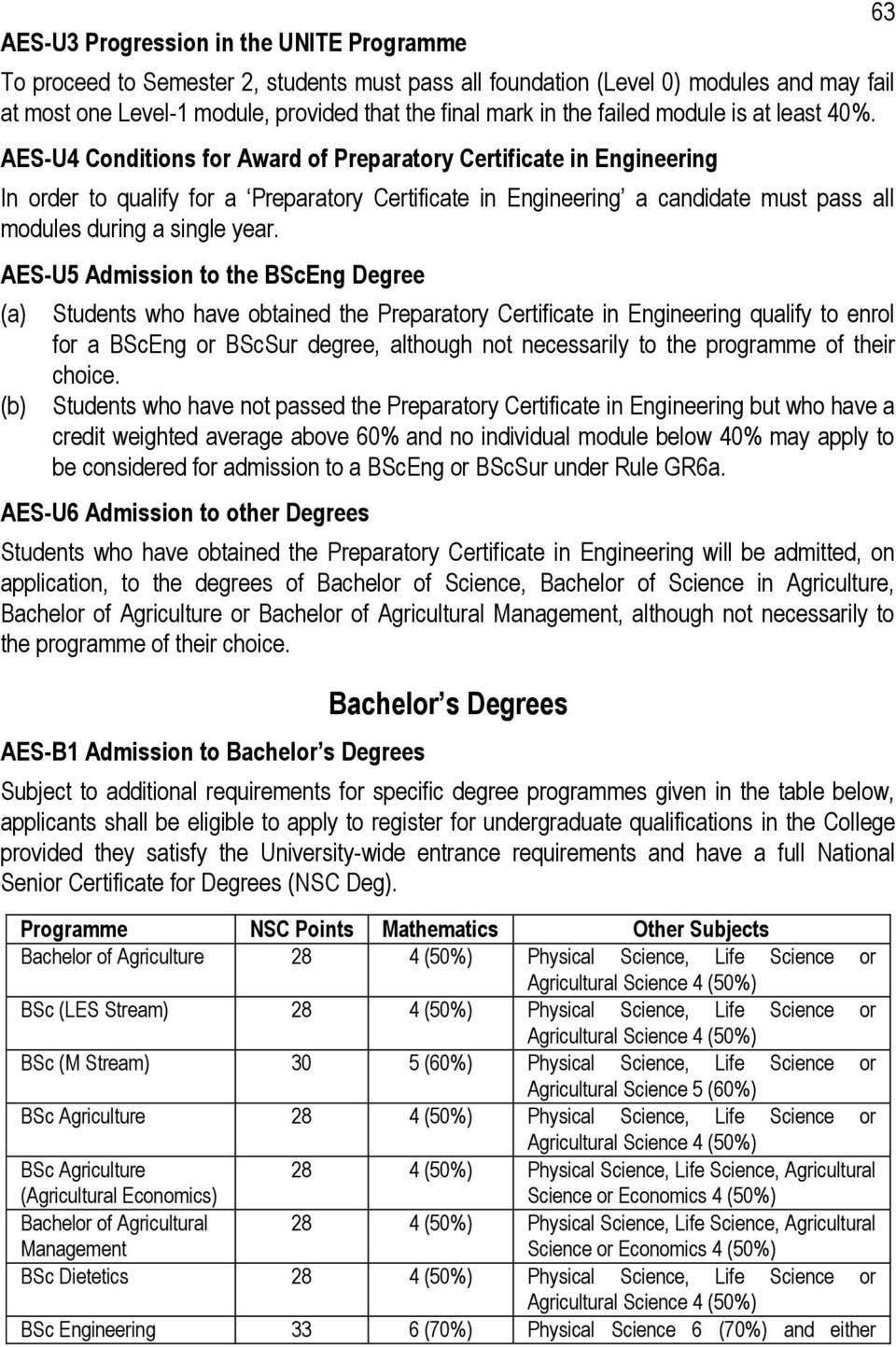 AES-U4 Conditions for Award of Preparatory Certificate in Engineering In order to qualify for a Preparatory Certificate in Engineering a candidate must pass all modules during a single year.