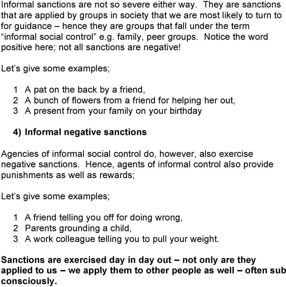 examples of sanctions in society