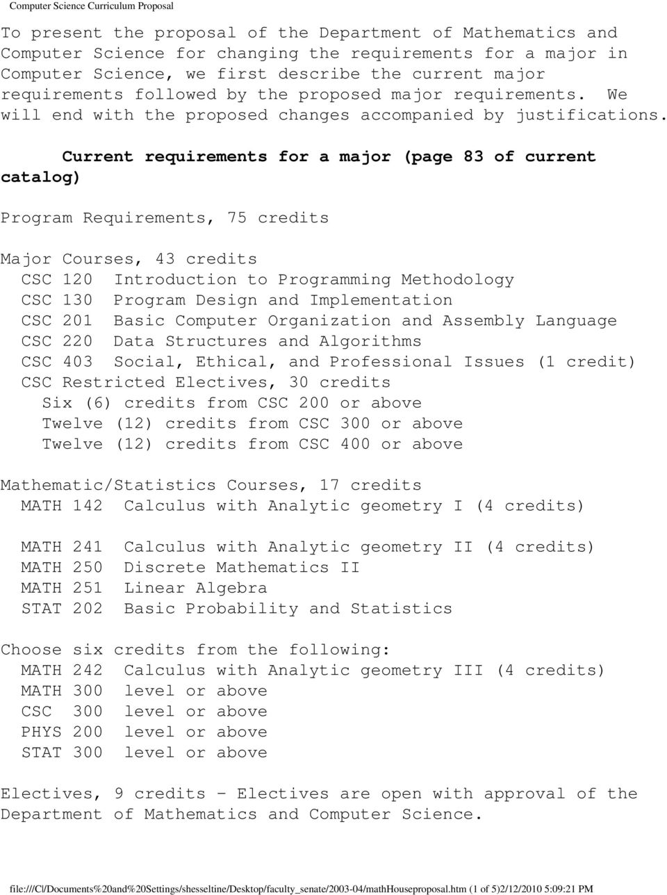 Current requirements for a major (page 83 of current catalog) Program Requirements, 75 credits Major Courses, 43 credits CSC 120 Introduction to Programming Methodology CSC 130 Program Design and