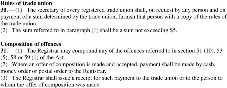 rules of the trade union. (2) The sum referred to in paragraph (1) shall be a sum not exceeding $5. Composition of offences 31.