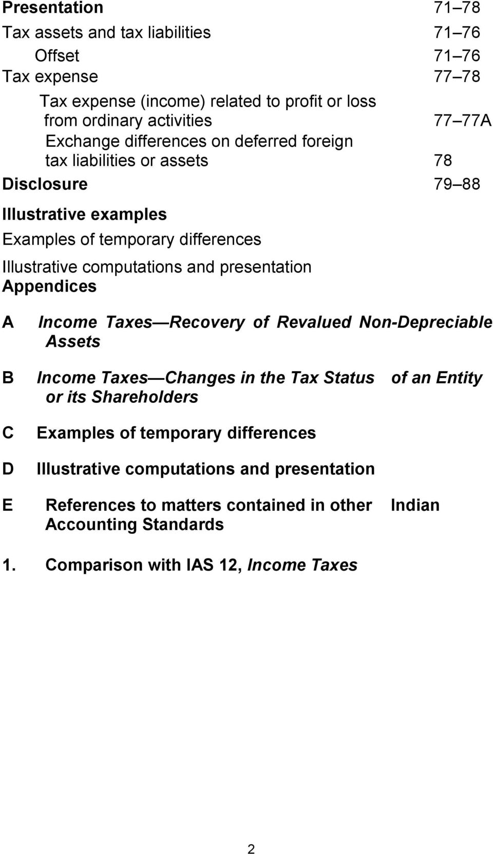 presentation Appendices A B C D Income Taxes Recovery of Revalued Non-Depreciable Assets Income Taxes Changes in the Tax Status of an Entity or its Shareholders Examples of