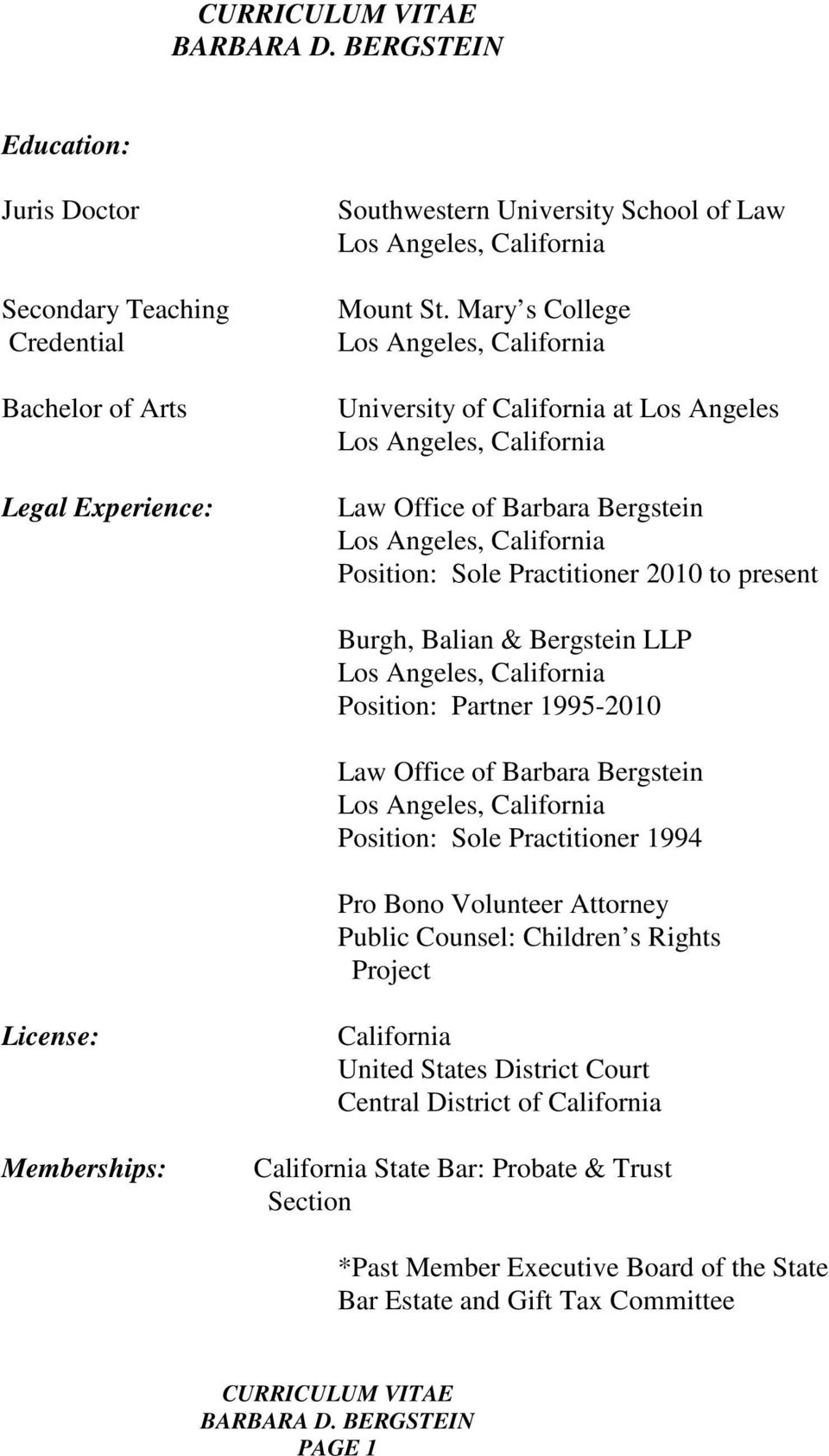 Position: Partner 1995-2010 Law Office of Barbara Bergstein Position: Sole Practitioner 1994 Pro Bono Volunteer Attorney Public Counsel: Children s Rights Project