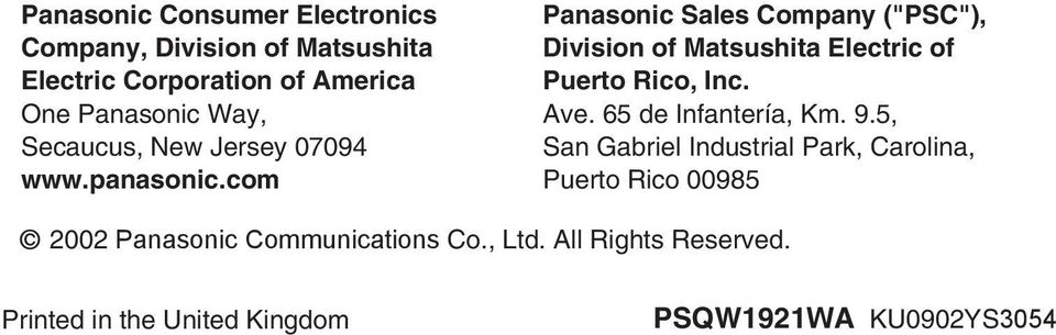 "com Panasonic Sales Company (""PSC""), Division of Matsushita Electric of Puerto Rico, Inc. Ave."