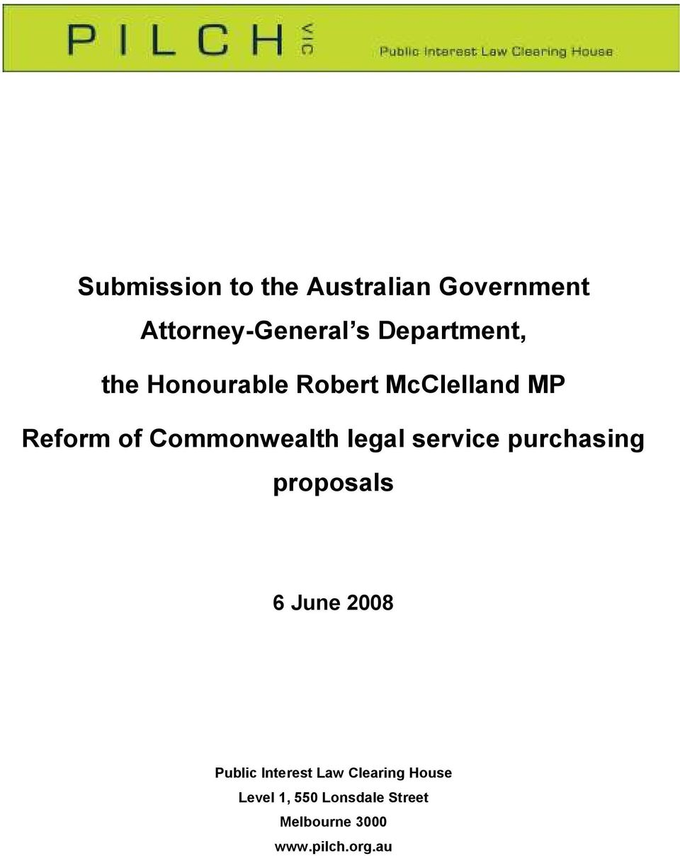 Commonwealth legal service purchasing proposals 6 June 2008 Public