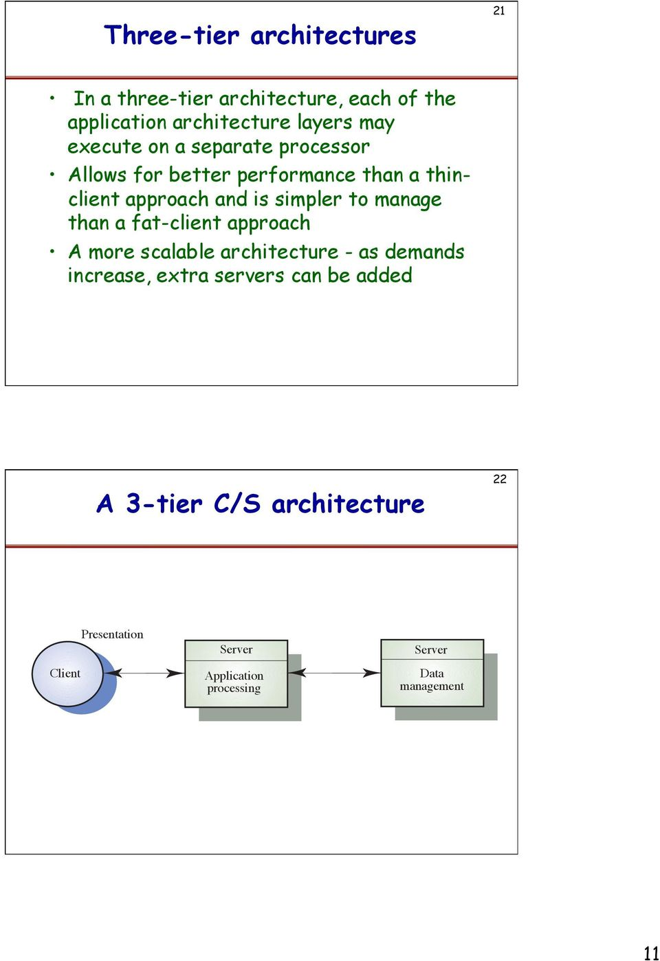 manage than a fat-client approach A more scalable architecture - as demands increase, extra servers can be