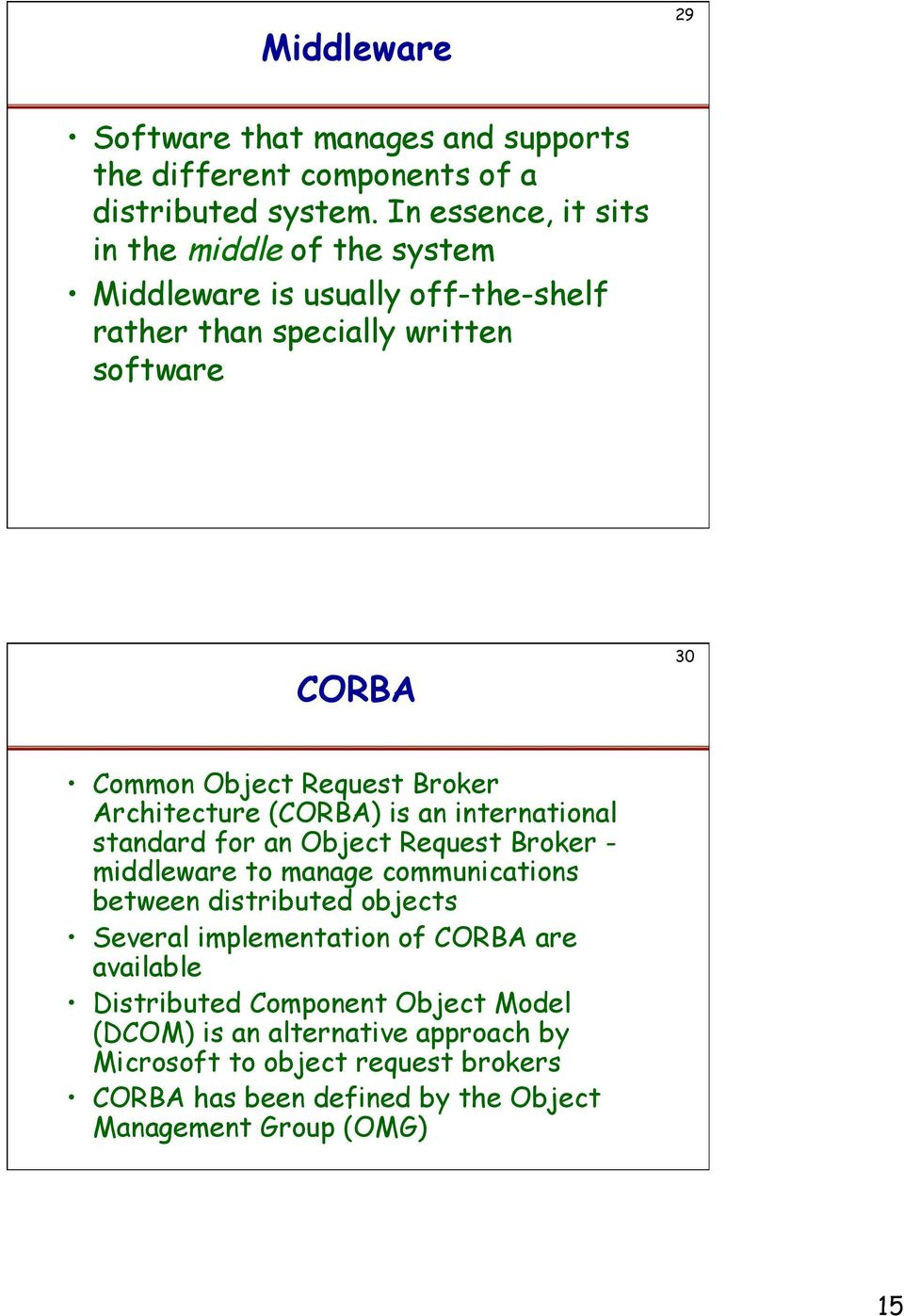 Broker Architecture (CORBA) is an international standard for an Object Request Broker - middleware to manage communications between distributed objects