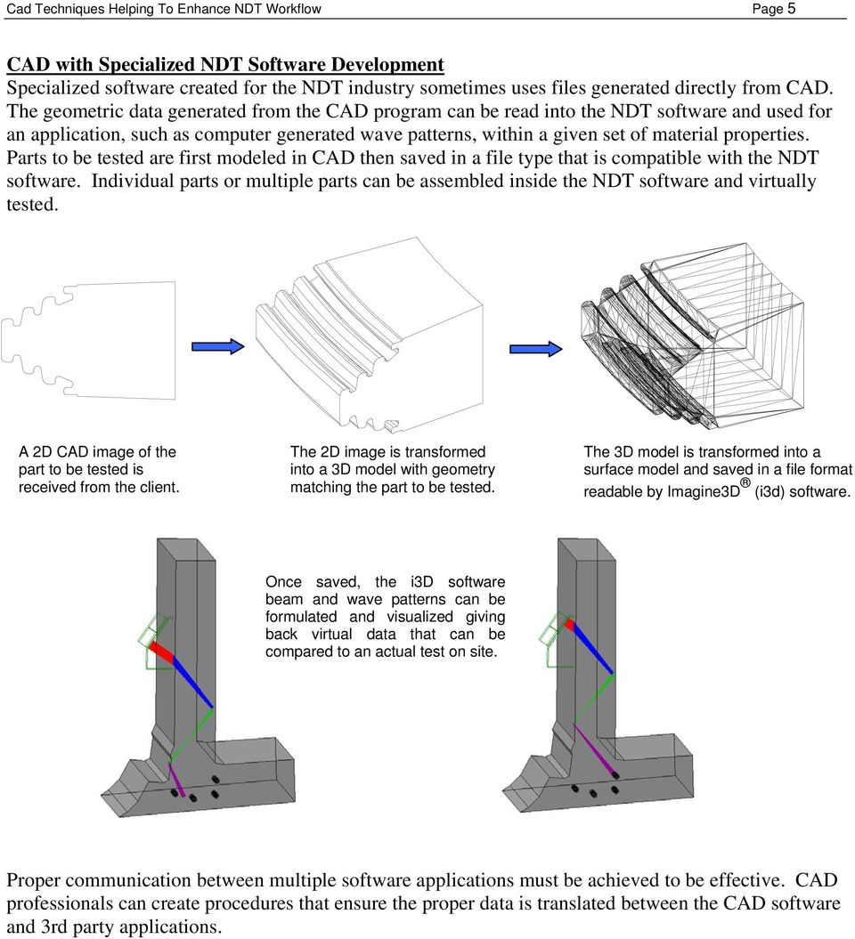Parts to be tested are first modeled in CAD then saved in a file type that is compatible with the NDT software.
