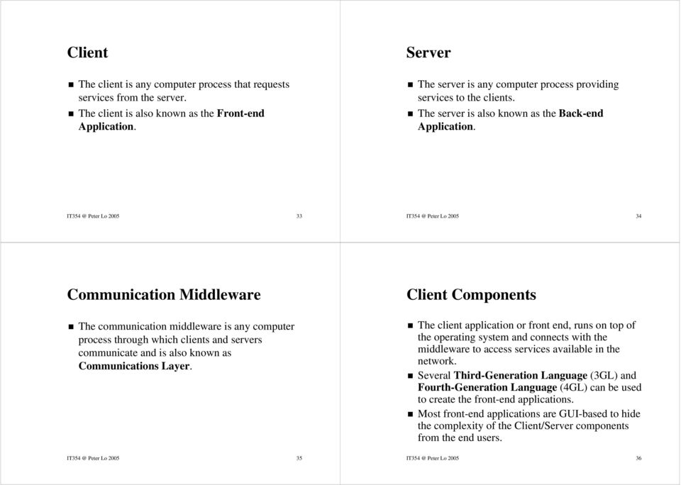 IT354 @ Peter Lo 2005 33 IT354 @ Peter Lo 2005 34 Communication Middleware The communication middleware is any computer process through which clients and servers communicate and is also known as