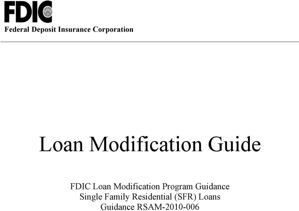 Guide FDIC Loan Modification