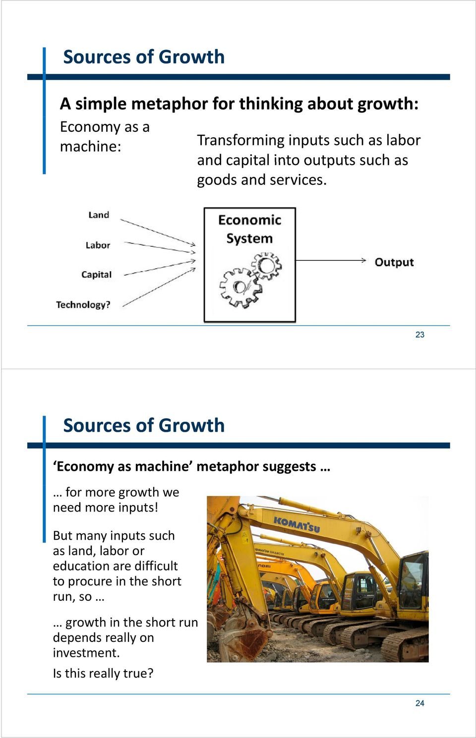 23 Sources of Growth Economy as machine metaphor suggests for more growth we need more inputs!