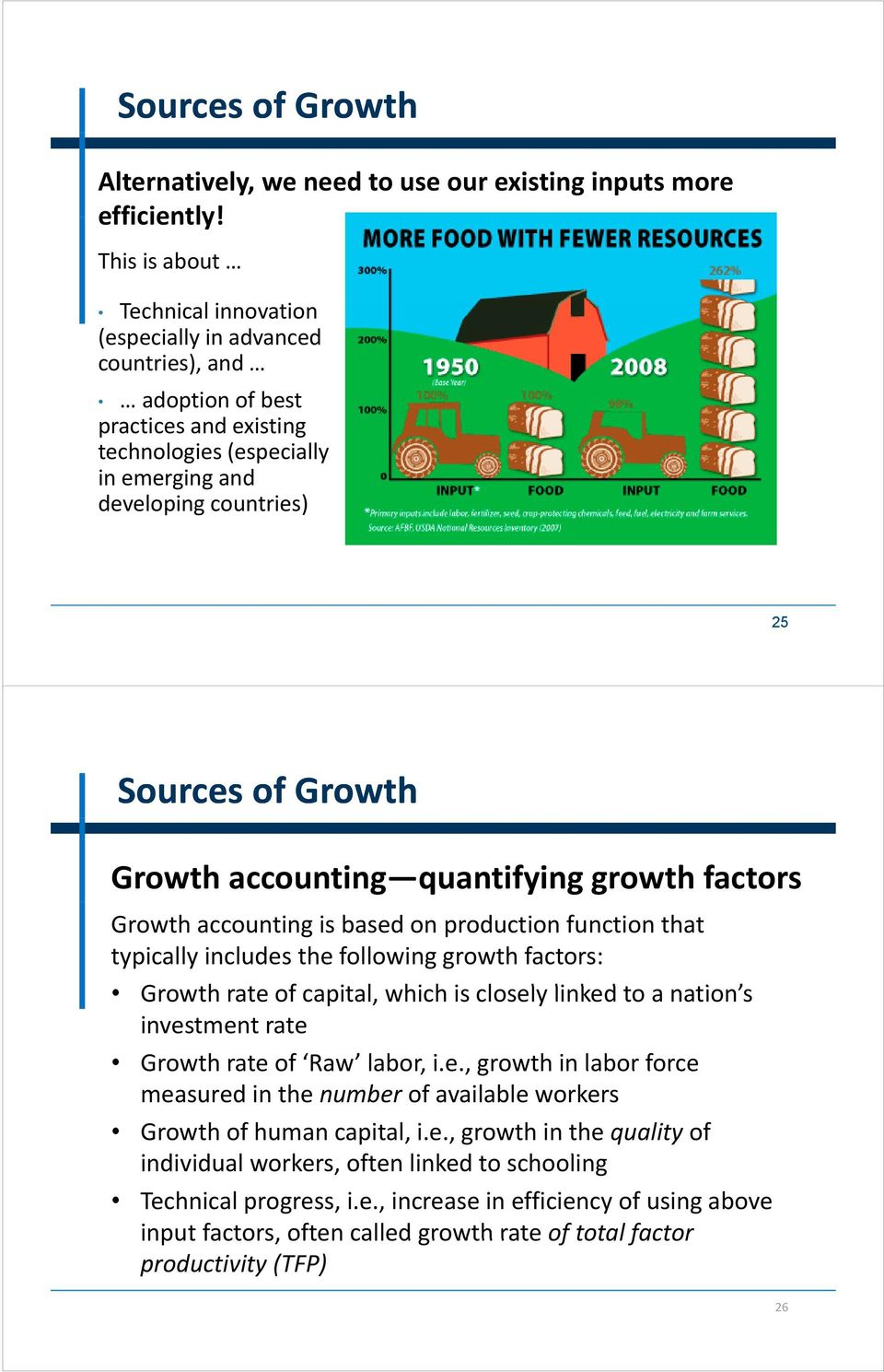 Growth accounting quantifying growth factors Growth accounting is based on production function that typically includes the following growth factors: Growth rate of capital, which his closely l linked
