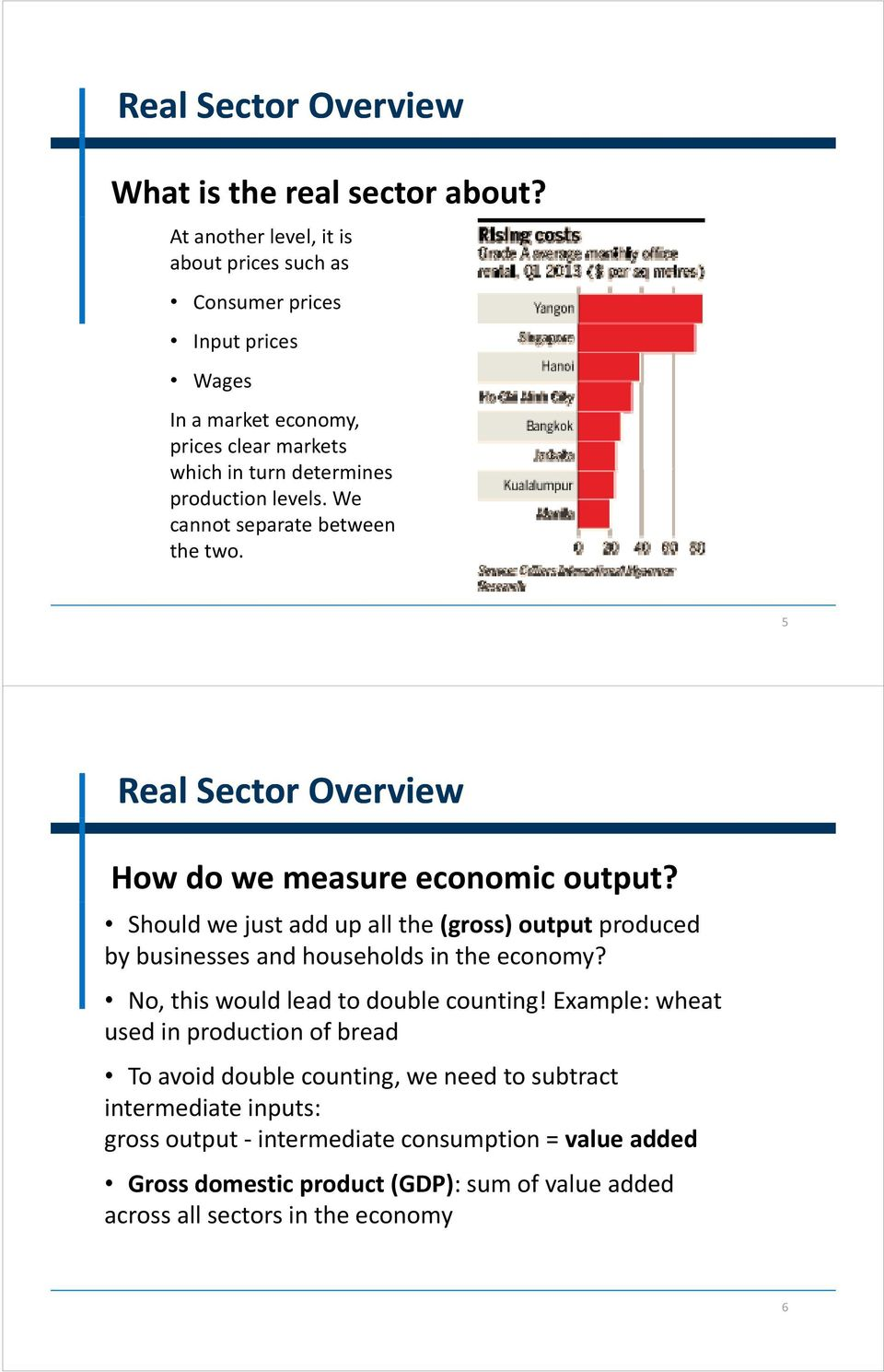 We cannot separate between the two. 5 Real Sector Overview How do we measure economic output?