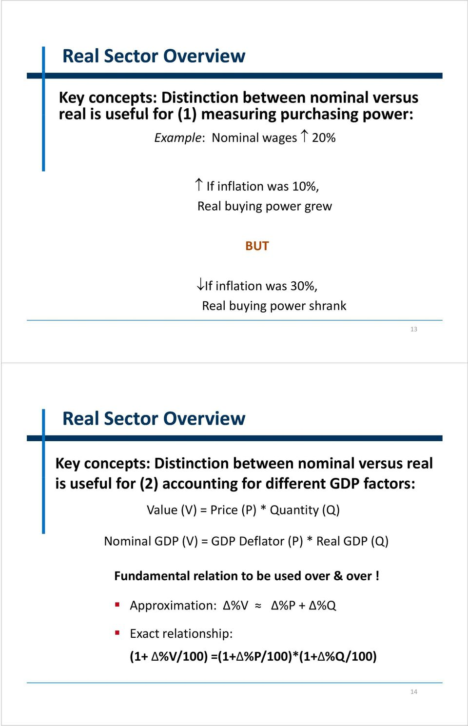 between nominal versus real is useful lf for (2) accounting for different GDP factors: Value (V) = Price (P) * Quantity (Q) Nominal GDP (V) = GDP